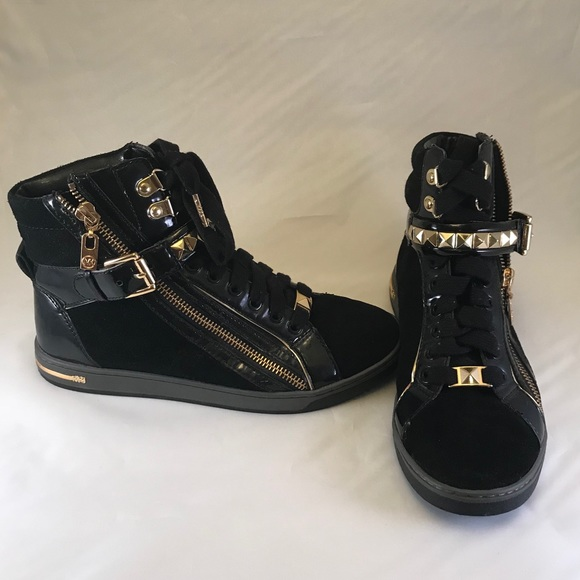 5a06082ebbcce MK Black Suede Gold Studded High Tops Size 8M. M 5ae26e9046aa7cf950ac48f5
